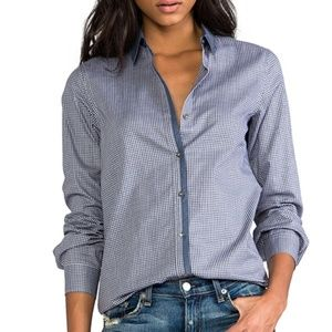 Theory | Gingham Chambray Button Down Blouse